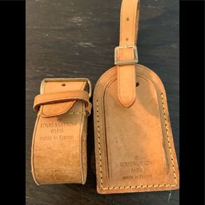 Louis Vuitton Leather Luggage Tag & Powanie Unused